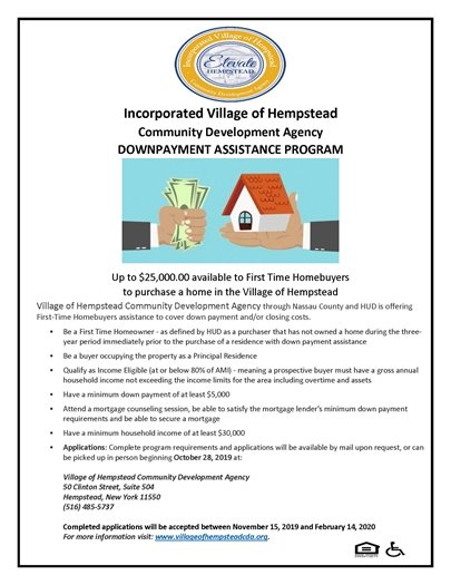 1st Time Home Buyer Program Down Payment Assistance Grant